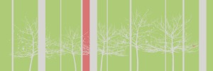 canvas-trees-grey, red stripe