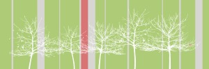 canvas-trees-grey, white trees, red stripe