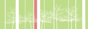 canvas-trees-white, red stripe