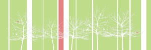 canvas-trees-white, white, red stripe